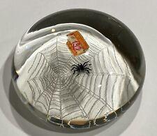 Unusual Mid Century Murano Art Glass Spider & Web Paperweight Original Label