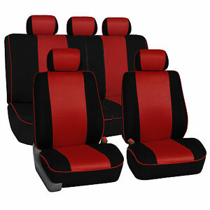 Car Seat Covers with Piping Full 2 Row Set Airbag & Rear Split Ready Red Auto