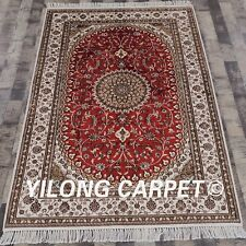 YILONG 4'x6' Red Handmade Carpets Turkish Hand Knotted Classic Silk Rugs Y289C