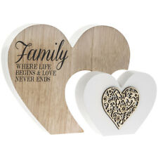 FAMILY LIFE BEGINS LOVE NEVER ENDS Double Wooden Heart Sentiment Plaque Leonardo