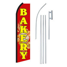 BAKERY RED/YEL 15' COMPLETE SWOOPER FLAG STARTER KIT Bow Feather