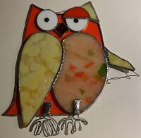 Vintage Whimsical Owl Stained Glass Hanging Mid Century Modern Object 60s 70s