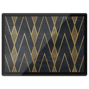 Quickmat Plastic Placemat A3 - Black & Gold Geometric Art Deco  #12545