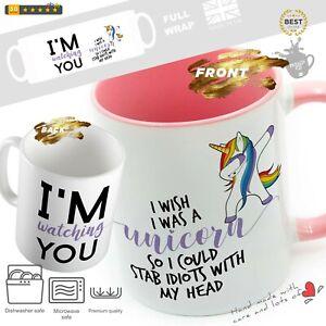 Funny unicorn mug unicorn stab idiots Funny Mugs Cup Cups Tea Coffee Magic mug