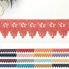 "1.75"" Embroidered Plum Pink Lilac Yellow gold Gray Black Blue Red Lace DIY Trim"