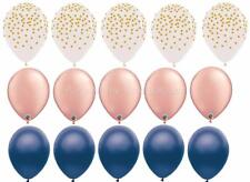 15 Balloons nu Rose Gold clear gold dots Navy wedding Party favors Midnight Blue