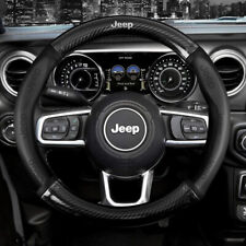 "15"" Car Steering Wheel Cover Genuine Leather For Jeep Black"