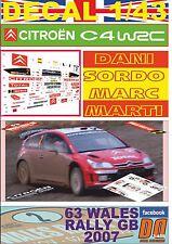 DECAL 1/43 CITROEN C4 WRC DANI SORDO WALES R. GB 2007 5th (01)