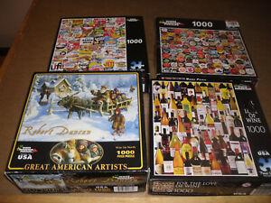 White Mountain 1000 piece puzzles (lot of 4) as shown, read description