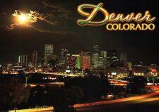 Denver Colorado Downtown, Skyline of Mile High City at Night, Traffic - Postcard