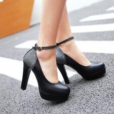 Womens High Heel Block Platform Ankle Strap Pumps Party Shoes AU Plus Size 2.5-9