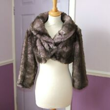 KAREN MILLEN Faux Fur Mink Brown & Pink Crop Bolero Jacket Party Occasion Size 8