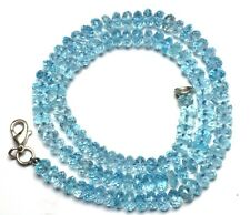NATURAL GEMSTONE BLUE TOPAZ FACETED 6MM APPROX. RONDELLE BEADS NECKLACE 16 INCH