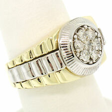Men's 14k Two Tone Gold Ribbed 0.56ctw Round Brilliant Diamond Cluster Ring Sz 8