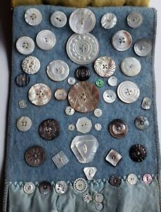 Sampler of 50 ANTIQUE BUTTONS, Assorted MOTHER-OF-PEARL, Dyed Carved Etched #5