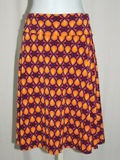 LuLaRoe SZ M Simply Comfortable Azure Orange Navy Geometric Fold Waistband Skirt