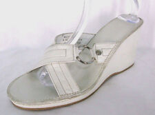 Coach Sandals Shoes Sz 10 White Leather Tatiana Wedge Heel Slide Strappy Italy