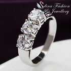 18K White Gold Plated 3 x Simulated Diamond 0.5 Carat Round Cut Silver Ring