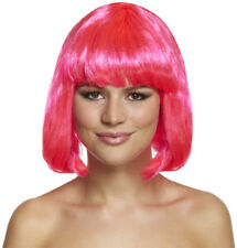 80's Neon Pink Bob Wig For Festivals, Hen Parties, Fancy Dress and More