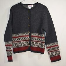 Tally Ho Sz M Womens Button Up Cardigan Sweater 100% Wool Gray EUC Metal Buttons