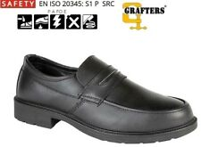 Mens Grafters SAFETY Smart Work Shoes Black Leather Slip-on Size 6 - 13 UK