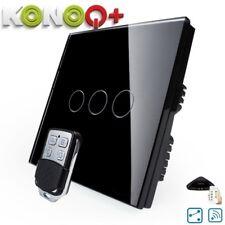 KONOQ+ Luxury Glass Panel Touch LED Light Switch:WIFI ON/OFF, Black, 3Gang/2Way