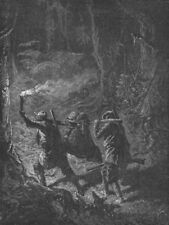 FLORIDA. Torch hunting in Forest 1880 old antique vintage print picture
