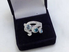 1.52Ct Genuine Natural Blue And White Diamond Ring Solid 18K White Gold. 3 stone