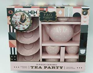 9 Piece Ceramic Tea Party Set Pink Polka Dot English Tea Set NEW Easter Gift Set