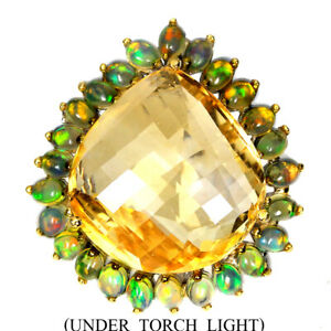 Handmade Heart Yellow Citrine 33.54ct Fire Opal 925 Sterling Silver Ring Size 7