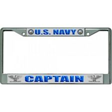 U.S. Navy Captain Chrome License Plate Frame