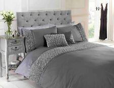 "Rapport ""Limoges"" Rose Ruffles Style Band Duvet Cover Bedding Set Grey"