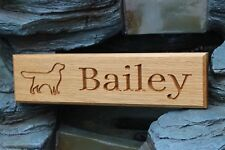 Oak  Dog Name Sign / Name Plate / Plaque - Kennel - Crate - Personalised Outline