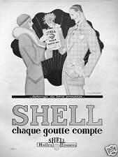 PUBLICITÉ SHELL HUILES ESSENCES CHAQUE GOUTTE COMPTE - DESSIN DE RENÉ VINCENT