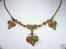 "Vintage 10K Old Black Hills Gold Pendant Necklace Yellow Rose Green Gold 17.5""L"