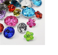 100 Acrylic Rhinestone Buttons, Faceted, Mixed Shapes, Crafts Sewing