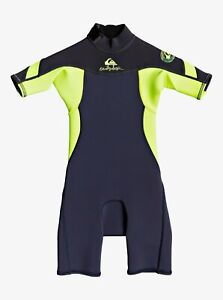 Quiksilver Syncro 2/2mm Shorty Wetsuit - Toddler Boys - 4 / Black Navy/Yellow