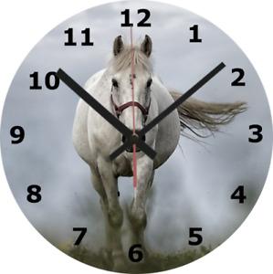 WALL CLOCK horse 25cm riding school galloping animal nature home decor 618.