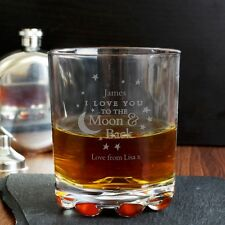 Personalised I Love You To the Moon and Back Glass Whisky Tumbler Engraved