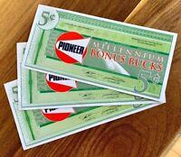 PIONEER MILLENIUM BONU$ BUCK$ 3x 5 CENTS UNC