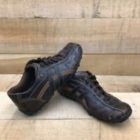 Skechers Mens Relaxed Step Oxfords Shoes Brown Leather Lace Up Bicycle Toe 8.5