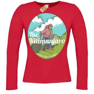 Kilimanjaro T-Shirt mountain climber explorer ladies long sleeve
