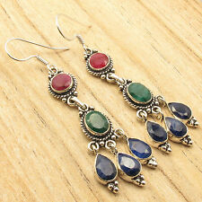 Simulated RUBY, EMERALD & SAPPHIRE Earrings 6.8 CM ! Silver Plated Jewelry