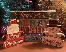 NEW (x6) Winter Christmas Holiday Wood Decor Tabletop Mantle Merry Santa Snowman