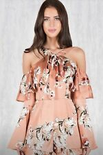 Peach Floral Flowing Play Suit/ Dress Size 10 Special Occasion Women