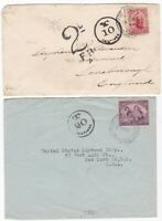 # 1904?/46 2 UNDERPAID NEW ZEALAND COVERS TO UK & USA T/20 or 10 CENTIMES TAXE