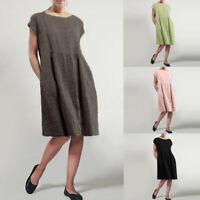 Mode Femme 100% coton Couleur Unie Ample Col Rond Poche Party Robe Dresse Plus