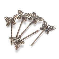 10pcs Brass Hair Bobby Pins Filigree Butterfly Glue-on Tray Antique Bronze 55mm