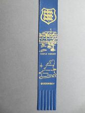 BOOKMARK LEATHER Guernsey Channel Islands Castle Cornet Map Coat of Arms BLUE