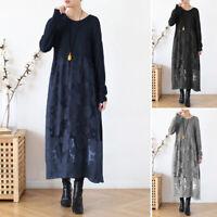 Belle  Femme Casual Loose Couture de Dentelle Imprimé Manche Longue Robe Dresse